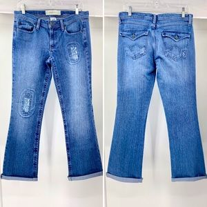 MOSSIMO-Size 9-Medium Wash Distressed/Sparkle Jean